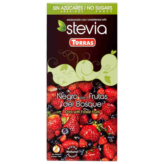 STEVIA CHOCOLATE NEGRO FRUTOS BOSQUE 125GR TORRAS